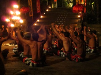 The kecak dance, in which dozens of Balinese re-enact an episode from the Ramayana. Kidnapping! Monkey armies! True love!