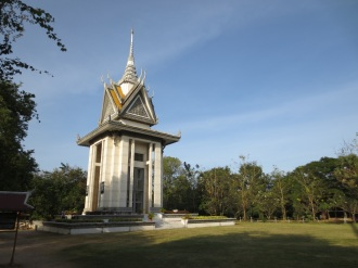 The memorial stupa at the Cheong Ek Killing Fields contains the remains of thousands of the bodies discovered there. Most of the victims came from S-21.