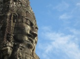 Bayon Temple is in the middle of Angkor Thom, the principal city complex during the height of the Angkor period. It features all of these subtle and, in the right conditions, spooky faces carved all around.
