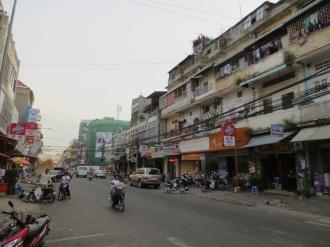 Phnom Penh: a downtown street.