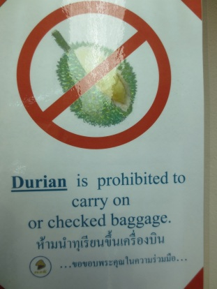 Phitsanulok airport, Nok Air check-in counter. If you've ever smelled durian, you understand.