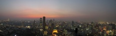 A panoramic view of Bangkok by night, taken from the rooftop bar of our hotel.