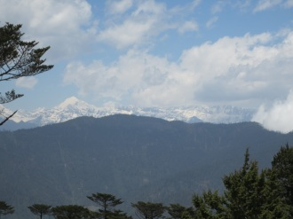 The view from Lungchutsekha monastery. The really tall mountain is Gangkar Punsum, the highest in Bhutan (24,770ft/7,550m).