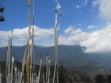 Prayer flags and Himalayas.