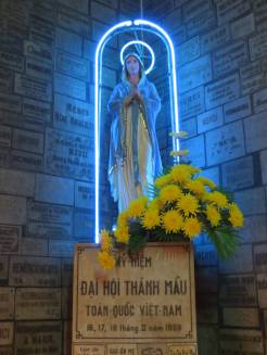 It's hard to beat the neon-blue statue of the BVM just inside the door.