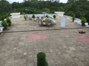 The red circles (part of the second is visible at right) mark the spots where Nguyễn Thanh Trung, a Vietnamese pilot and Communist spy, bombed the palace (largely ineffectually) on April 8, 1975.
